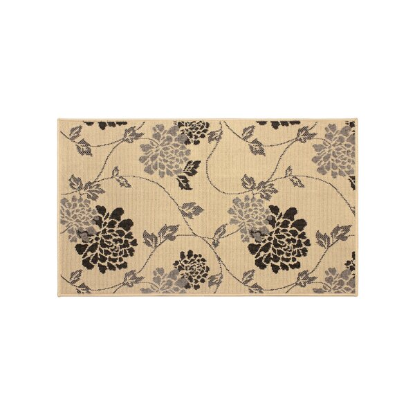 Jaya Stencil Chrysanthemum Beige Indoor/Outdoor Area Rug by Laura Ashley