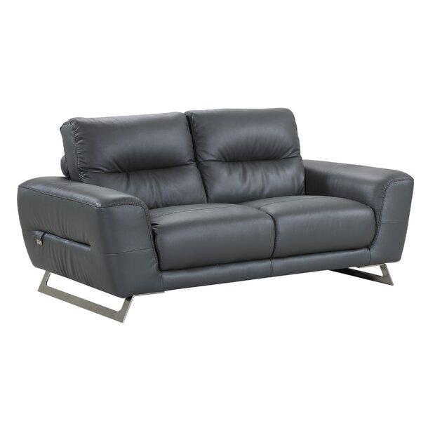 Hawkesbury Common Luxury Italian Upholstered Living Room Leather Loveseat by Orren Ellis