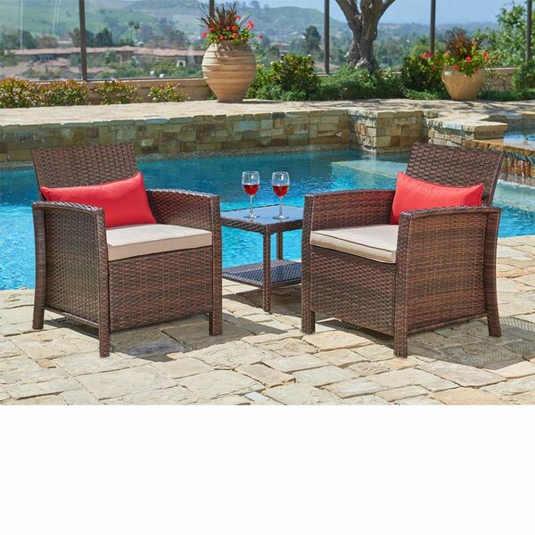 Decimus Outdoor 3 Piece Conversation Set with Cushions by Longshore Tides