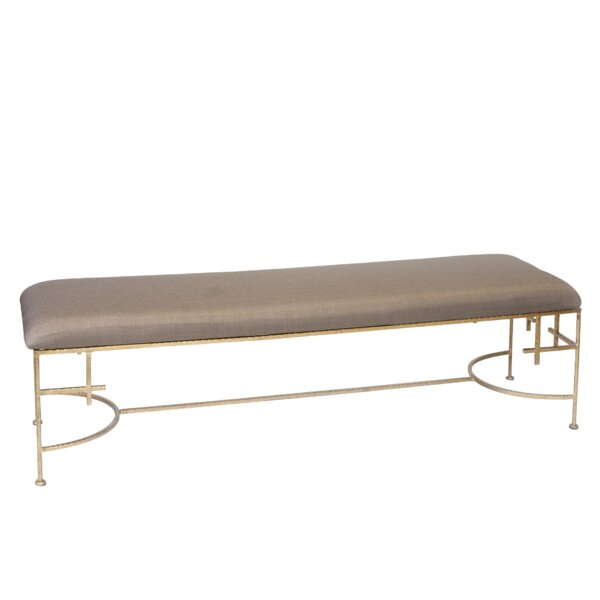 Hammered Upholstered Bench by Worlds Away