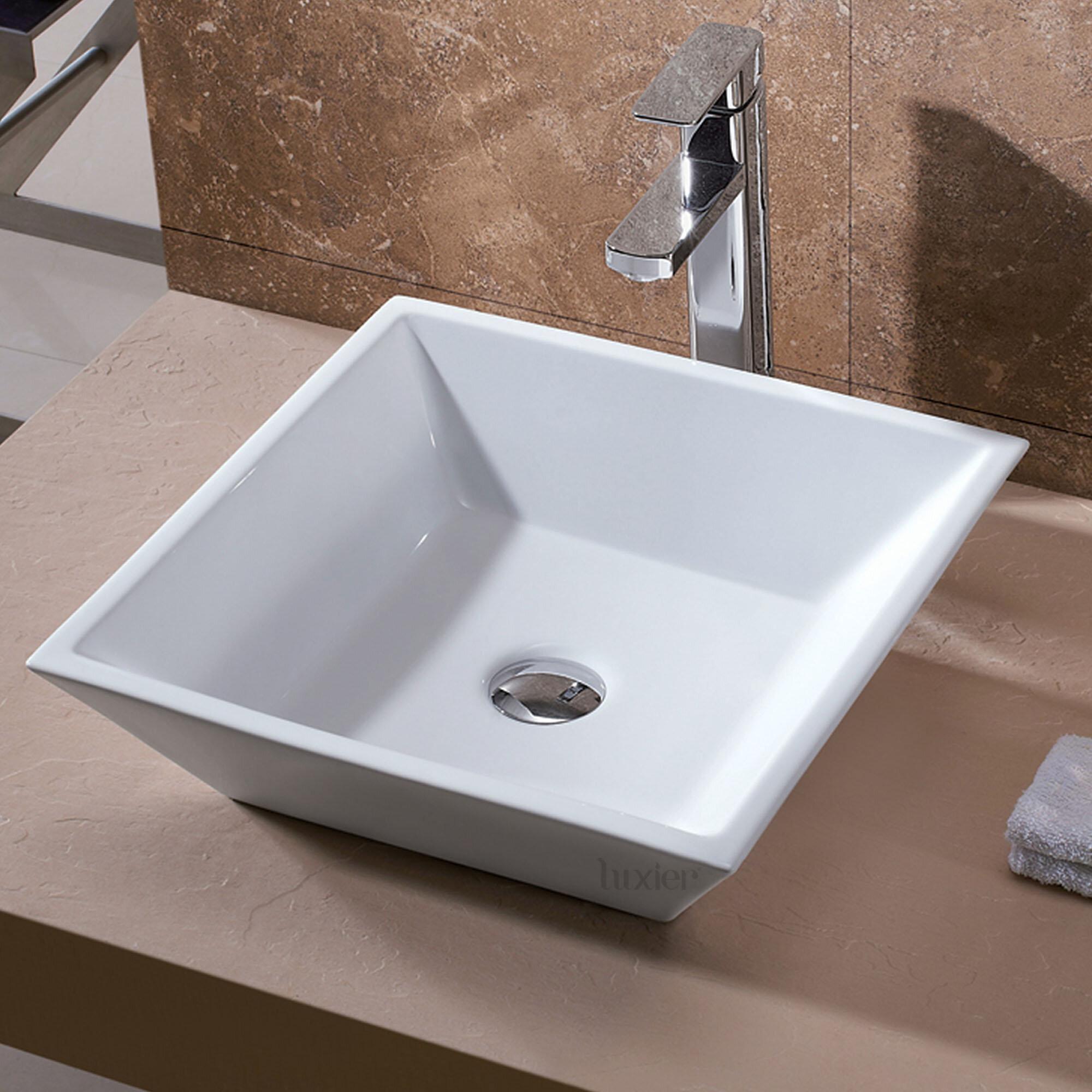 Bathroom Ceramic Square Vessel