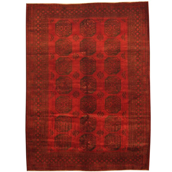 Tribal Turkoman Hand-Knotted  Red/Black Area Rug by Herat Oriental