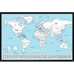 World map cork board wayfair world map color framed graphic art print poster gumiabroncs Image collections