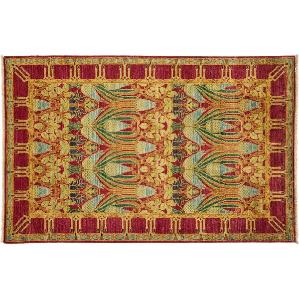 One-of-a-Kind Suzani Hand-Knotted Yellow Area Rug by Darya Rugs