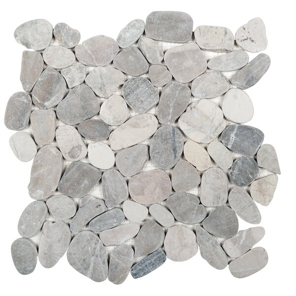 Sliced 12 x 12 Natural Stone Pebble Tile