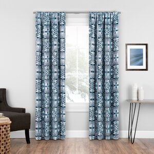Elena Medallion Geometric Blackout Rod Pocket Single Curtain Panel