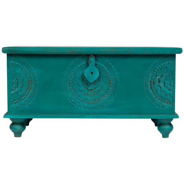 Roswell Hand Carved Medallion Coffee Table Trunk b