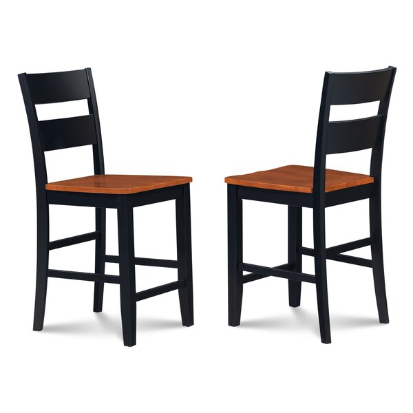 Charlestown Solid Wood 41 Bar Stool (Set of 2) by Alcott Hill