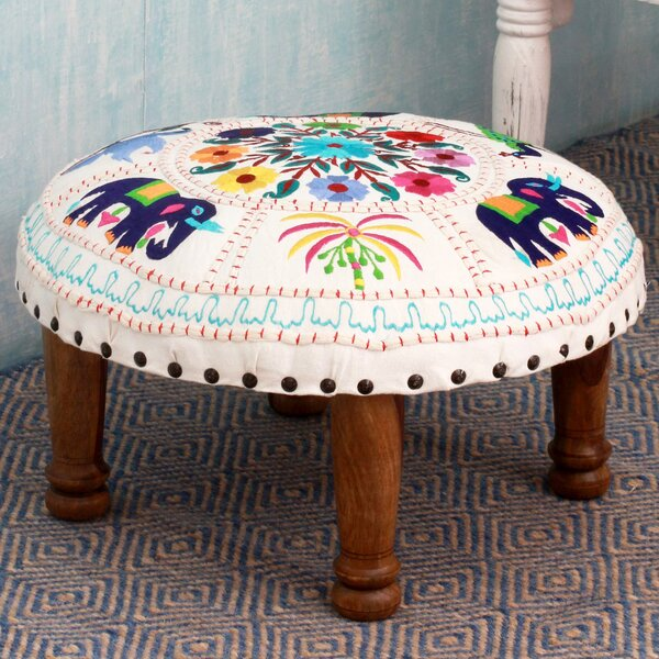 Cotton Embroidered Floral Fauna Vanity Stool by Novica