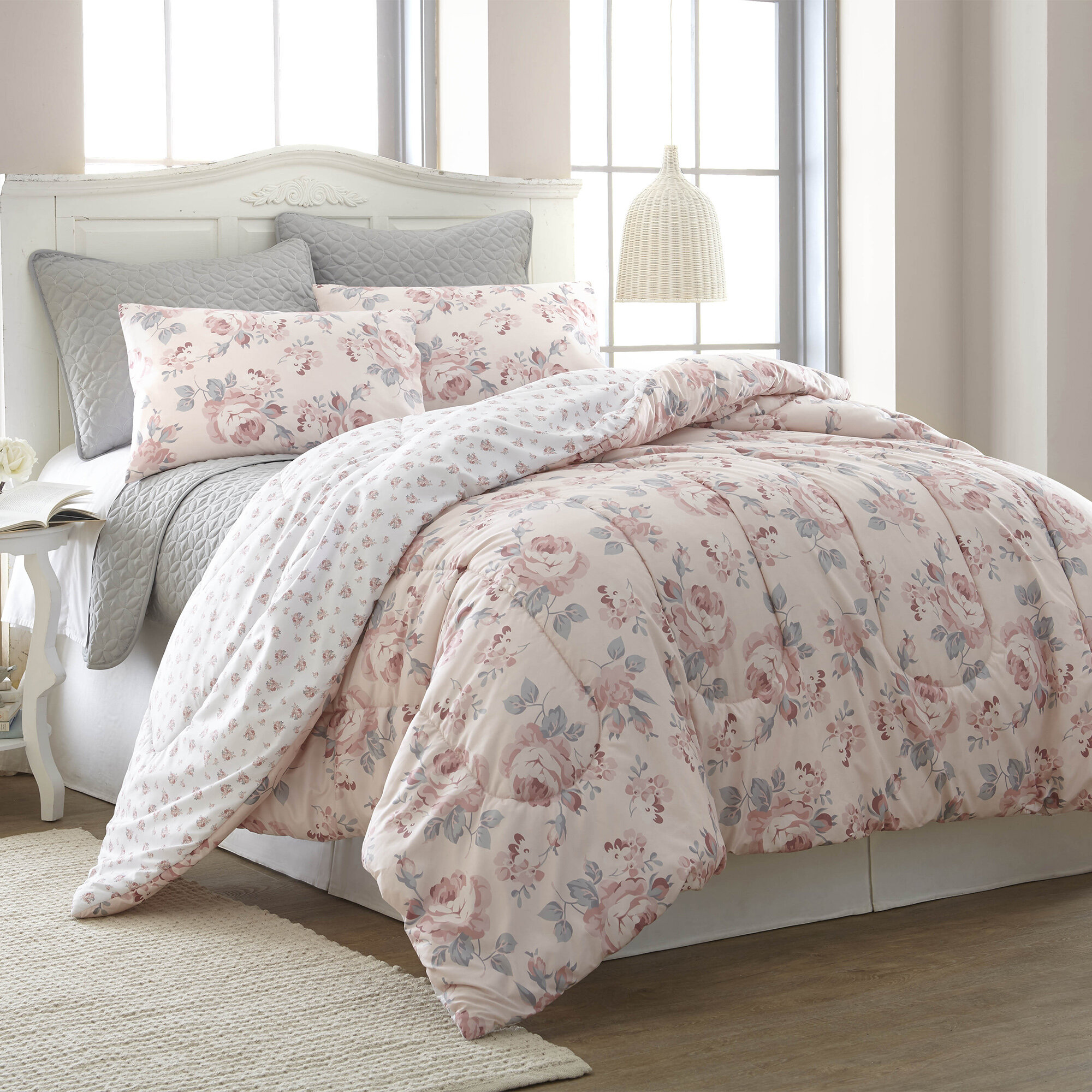 kg dusty com set reversible zeta comforter home rose c ensembles jones qvc sets bedding n jacquard floral the casa for bed