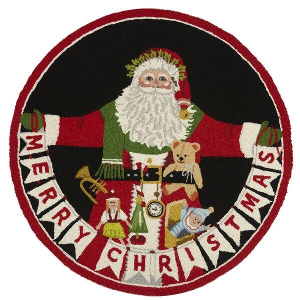 Santa Christmas Red/Black Area Rug by Mary Lake Thompson