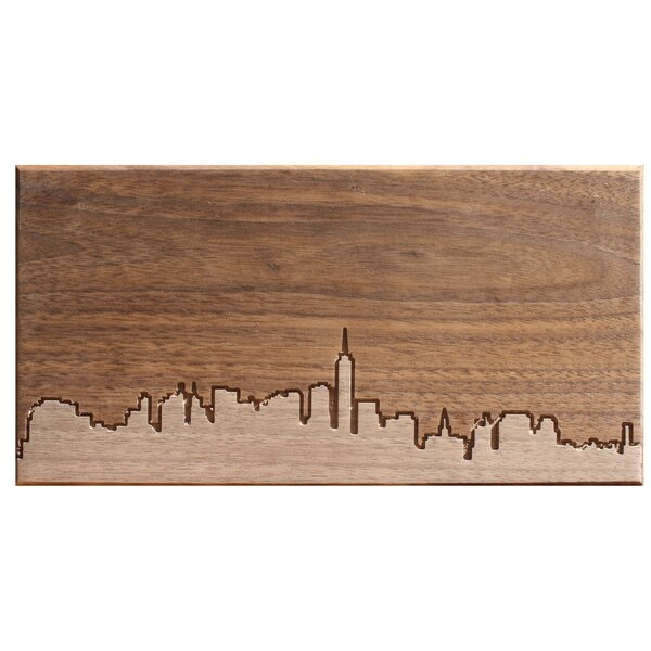 City Skylines Solid Walnut New York City Skyline Routing Wall Art by Dave Marcoullier Wood Routings