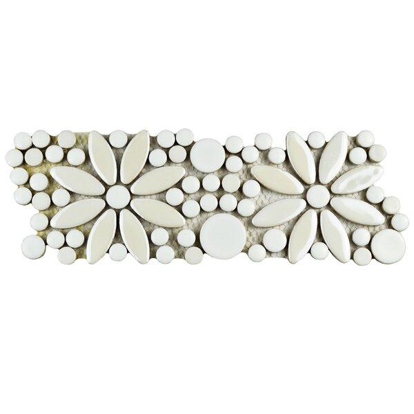 Tucana 4.25 x 12.75 Porcelain Flower Mosaic Border Decorative Accent Tile in White by EliteTile