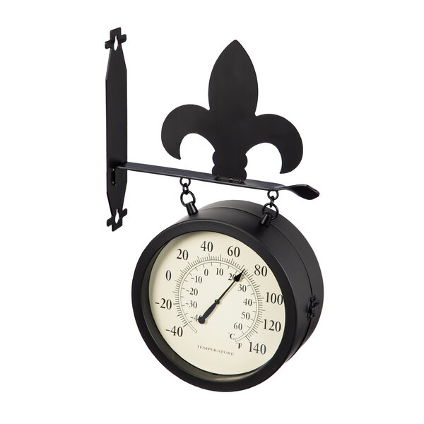 Patrica 2-Sided Outdoor and Thermometer Fleur de Lis Wall Clock by Fleur De Lis Living
