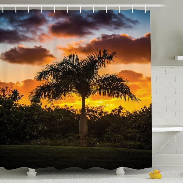 Palm Tree Silhouette Scene at Sunset Twilight Tranquility in Nature Image Shower Curtain Set by Ambesonne