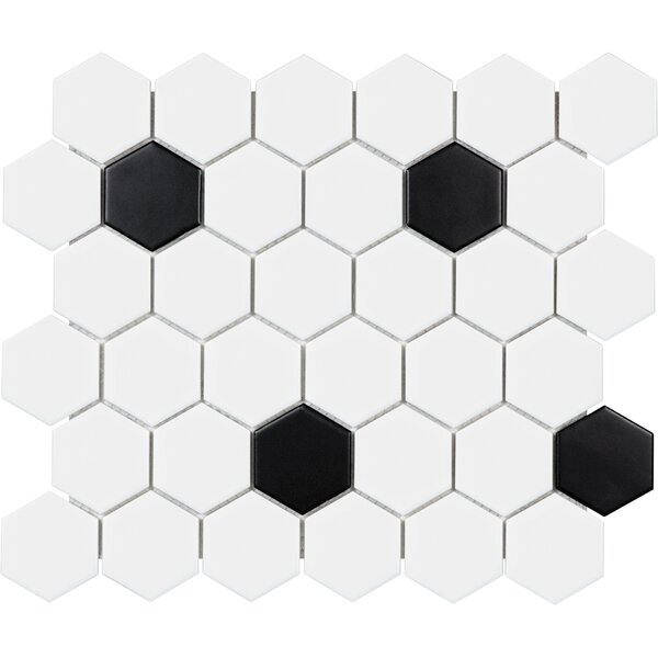 Sail 2 x 2 Porcelain Mosaic Tile in Matte Onyx/White by Parvatile