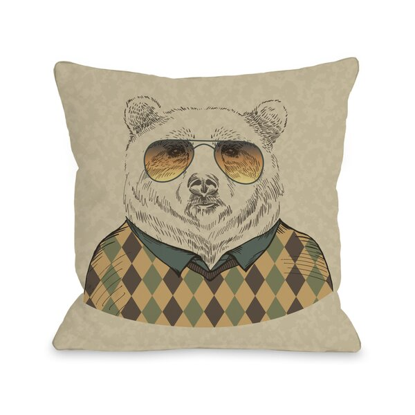 Hipster Bear Throw Pillow by One Bella Casa
