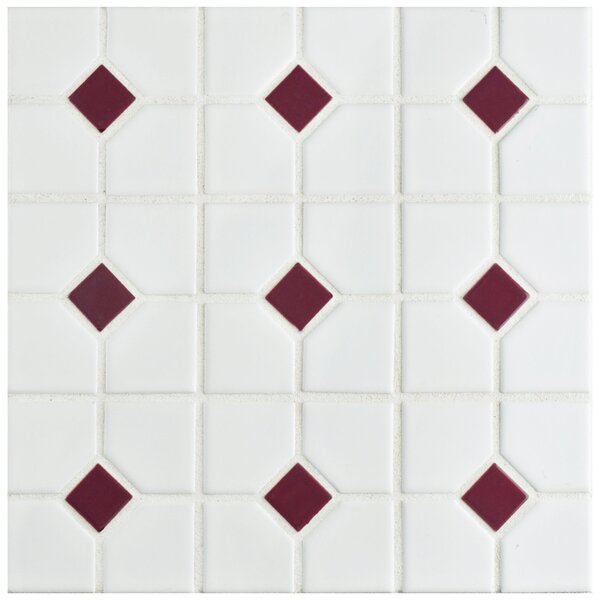 Cambridge Porcelain Mosaic Tile in Matte White/Maroon by EliteTile