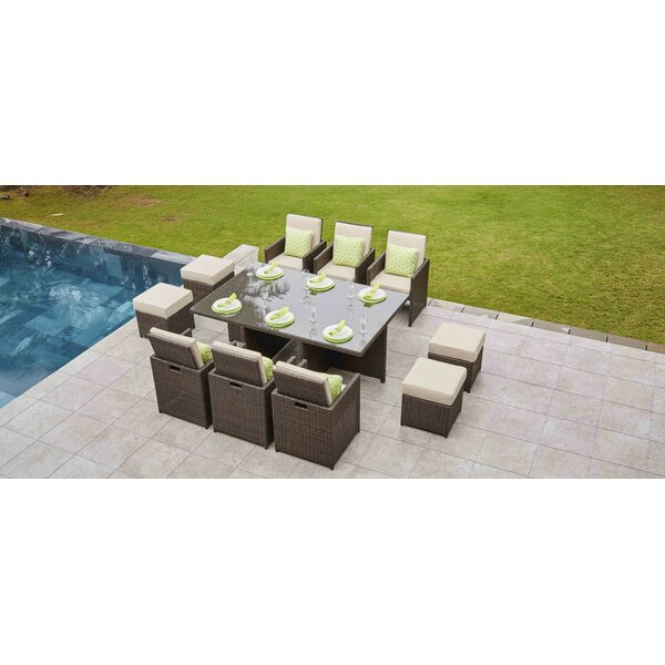 Lund 11 Piece Dining Set with Cushions