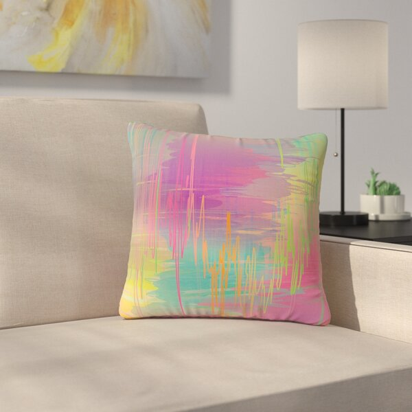 Graphic Tabby Rainbow Storm Abstract Outdoor Throw Pillow by East Urban Home