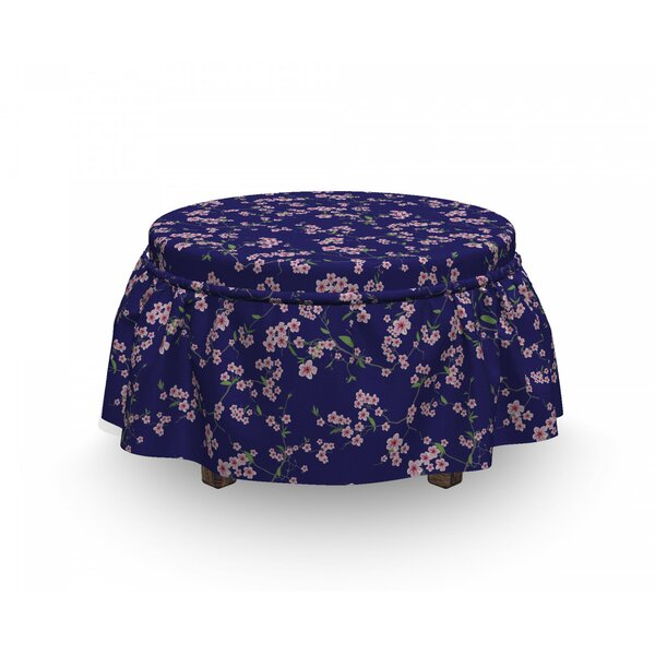 Sakura Blossom 2 Piece Box Cushion Ottoman Slipcover Set By East Urban Home