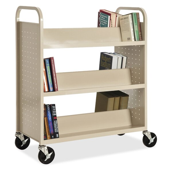 Double-Sided Sloped-Shelf Book Cart by Lorell