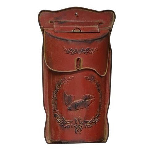 Post Box with Bird and Holly Wall Mounted Mailbox by CWI Gifts