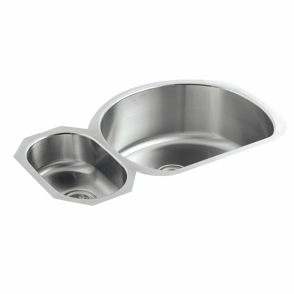 Undertone 34-3/4 L x 21-1/4 W x 9-1/2 Under-Mount High/Low Double-Bowl Kitchen Sink by Kohler