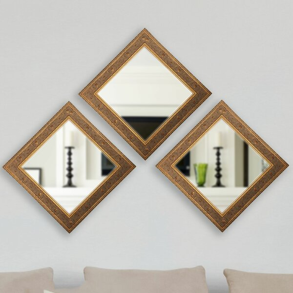 Square Wall Mirror (Set of 3) by Astoria Grand