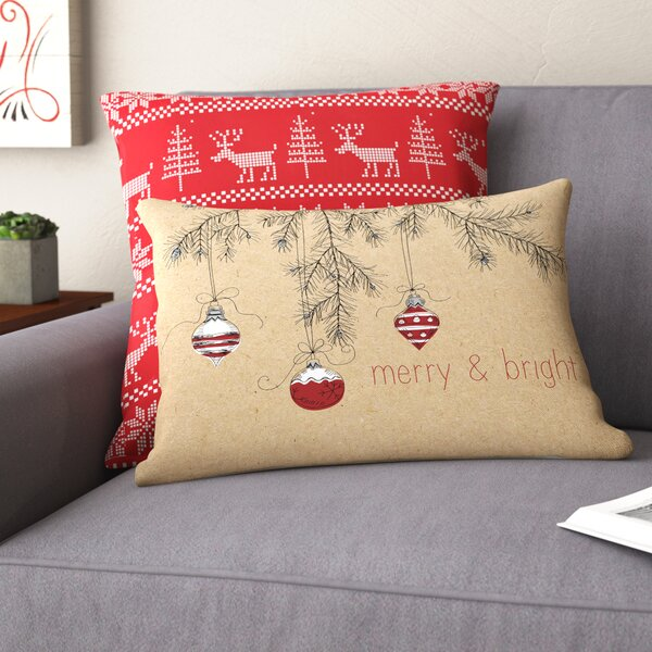 Merry and Bright Ornaments Lumbar Pillow by The Holiday Aisle