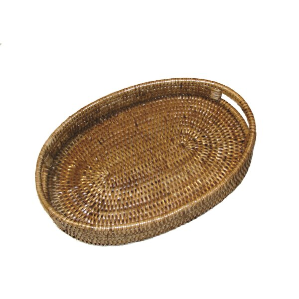 Rattan Oval Tray with Cutout Handles by artifacts trading