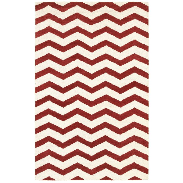 Mytilene Hand-Tufted Red/Ivory Area Rug by Meridian Rugmakers