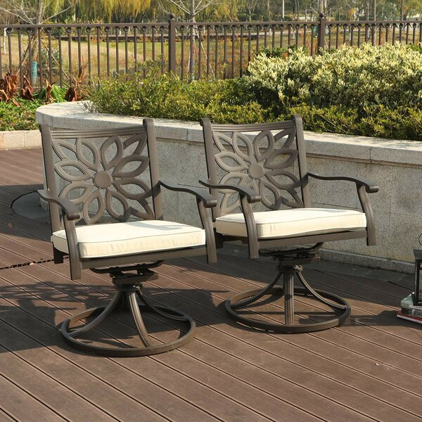 Ragusa Outdoor Swivel Rocking Chair with Cushions (Set of 2) by Red Barrel Studio
