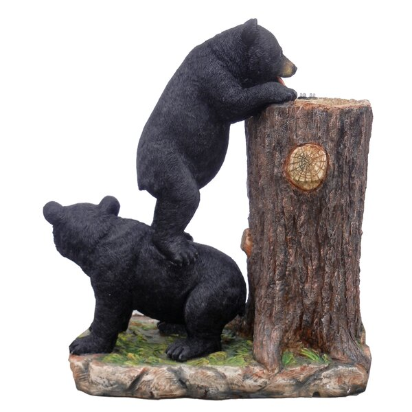 Polyresin 2 Bears Drinking Water Fountain with LED Light by Hi-Line Gift Ltd.