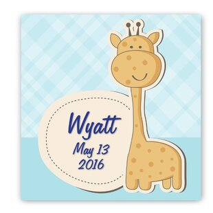 Personalized Baby Nursery Boy Giraffe Canvas Art