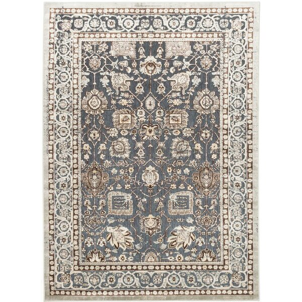 Cream/Pale Cyan Area Rug by ECARPETGALLERY
