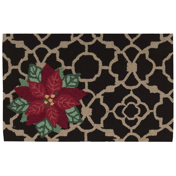 Christmas Hand Hooked Black Area Rug by Waverly