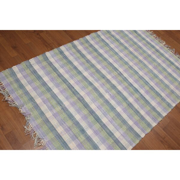 One-of-a-Kind Qiu Reversible Flatweave Hand-Woven Off White/Green Area Rug by August Grove