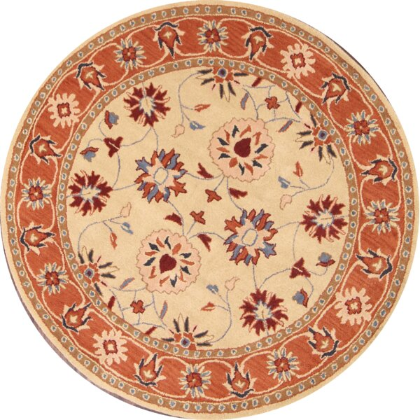 Bovill Ziegler Oriental Hand-Tufted Wool Rust/White Area Rug by Canora Grey