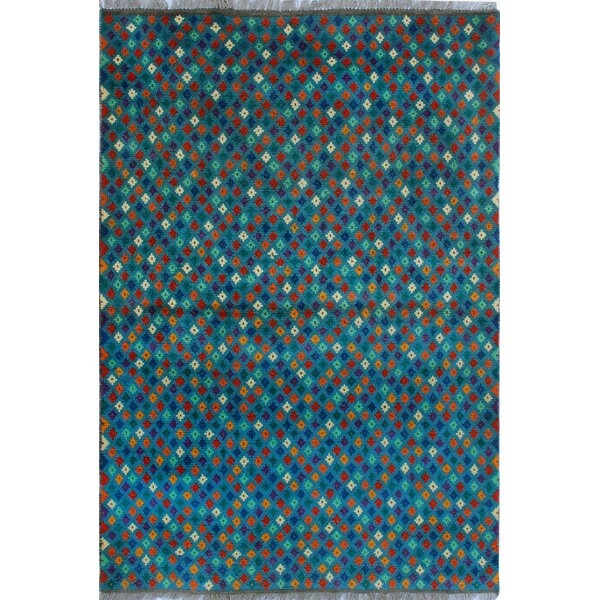 One-of-a-Kind Millender Khalfani Hand-Knotted Wool Blue Are Rug by Bloomsbury Market