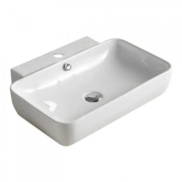 Above Counter for 1 Hole Center Drilling Ceramic Rectangular Vessel Bathroom Sink with Overflow