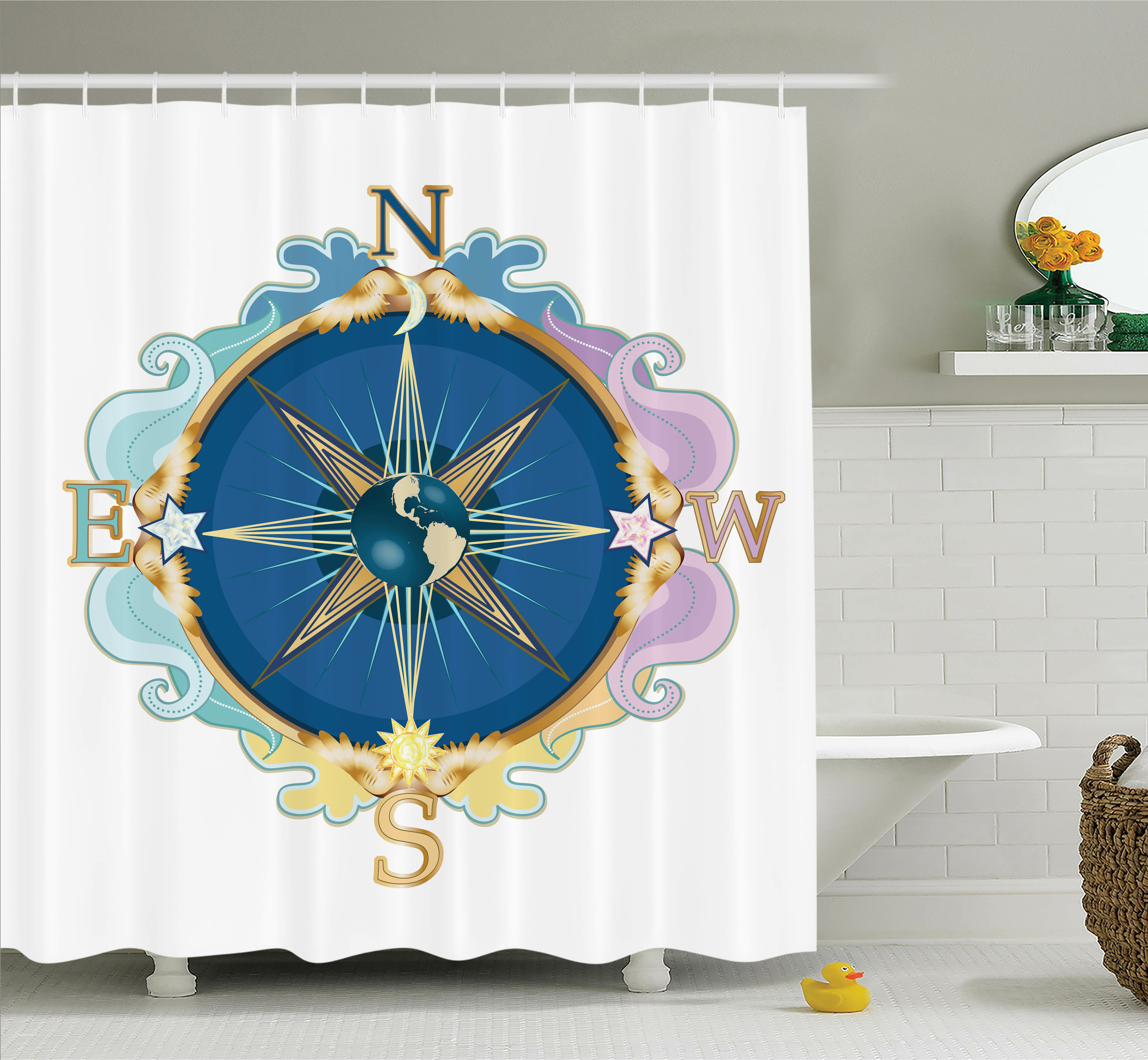 Ambesonne Wind Rose Travel Art Shower Curtain Set
