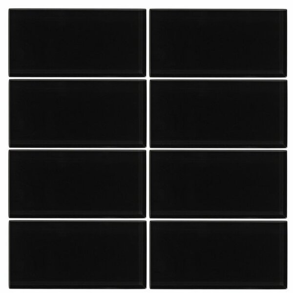 3 x 6 Glass Subway Tile in Midnight by Vicci Design