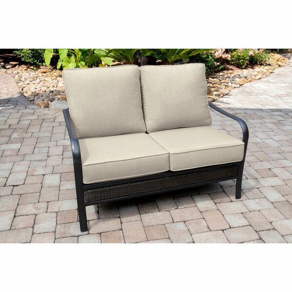 Becerra Commercial-Grade Aluminum/Woven Loveseat with Plush Sunbrella Cushions by Charlton Home