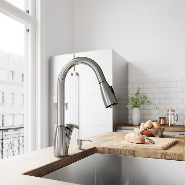 Romano Pull Out Single Handle Kitchen Faucet Romano Pull Out Single Handle Kitchen Faucet with Soap Dispenser by VIGO