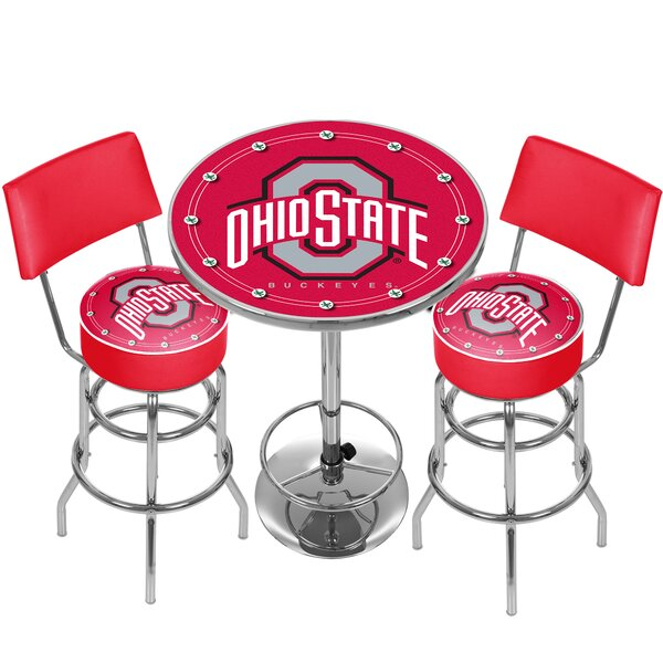 NCAA Ohio State University Game Room Combo 3 Piece Pub Table Set by Trademark Global Trademark Global