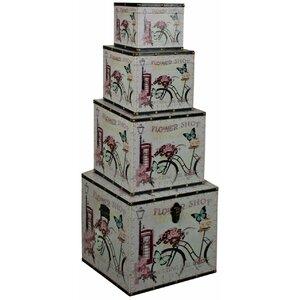 4-tlg. Aufbewahrungsboxen-Set Flower Shop von ChâteauChic