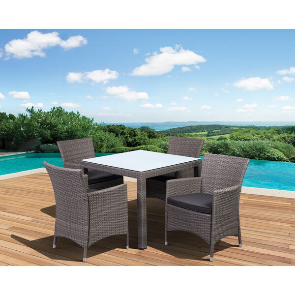 Wakerobin International Home Outdoor 5 Piece Dining Set with Cushions by Ebern Designs