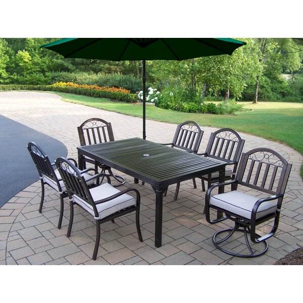 Lisabeth 7 Piece Swivel Dining Set with Cushions by Red Barrel Studio