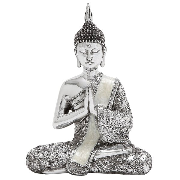 Silver Sitting Buddha Figurine (Set of 2) by World Menagerie